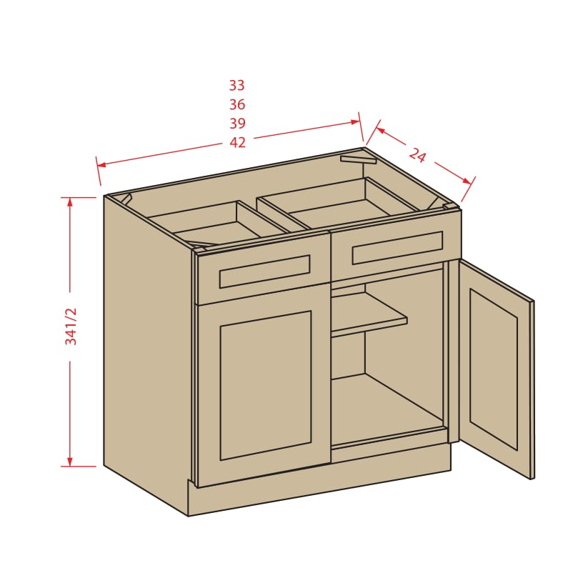 Kitchen Cabinets Jimmy Carter Blvd: Double Door Double Drawer Bases