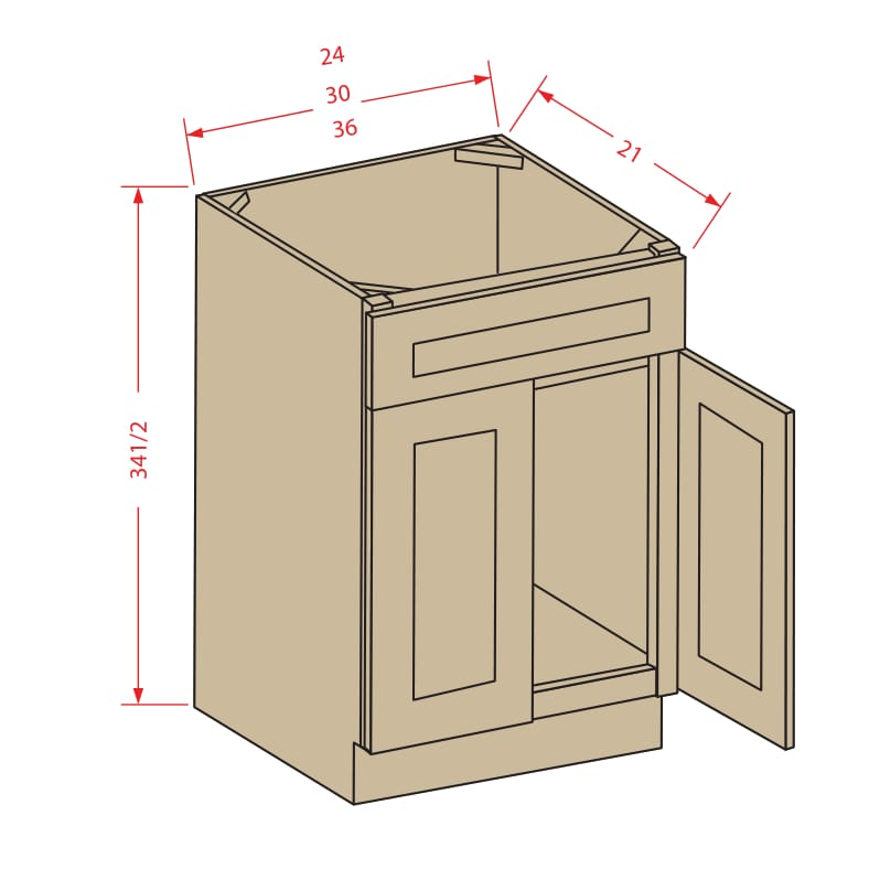 Sink Base Vanity: 1 Drawer Face with 2 Doors