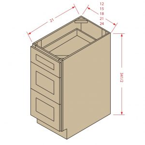 Vanity Drawer Base: 3 Drawers