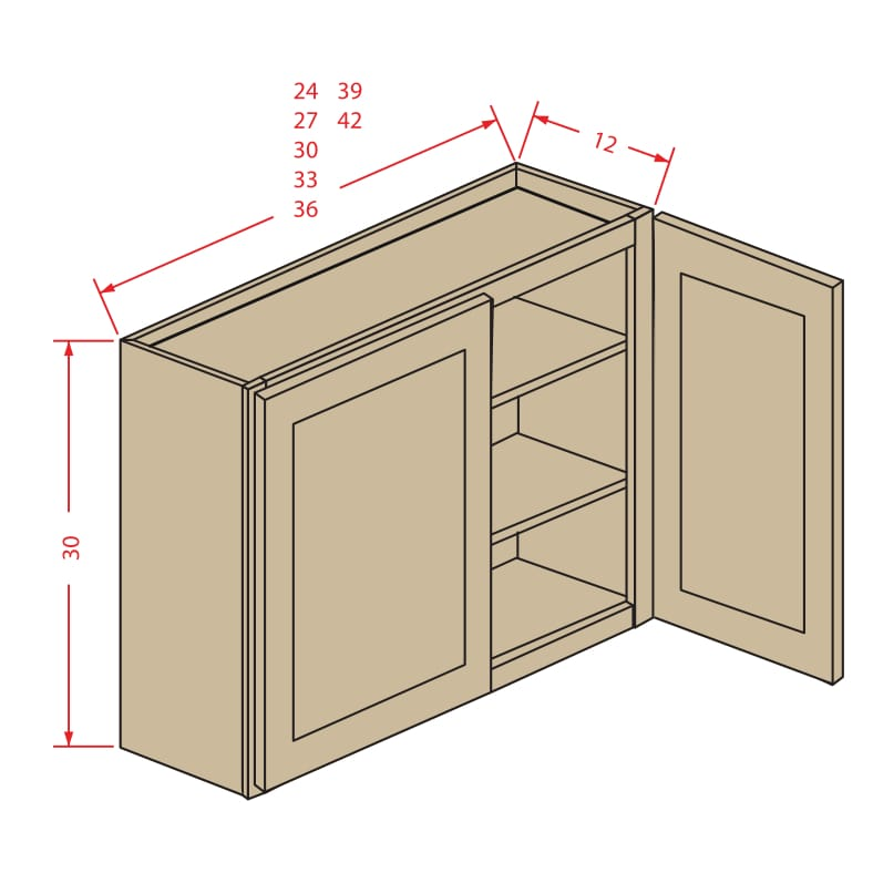 """Kitchen Cabinets Jimmy Carter Blvd: 30"""" Height Two Door Wall Cabinet"""
