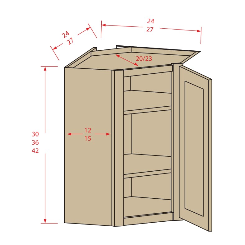 Diagonal corner wall cabinets roc cabinetry shop for Kitchen cabinets jimmy carter blvd