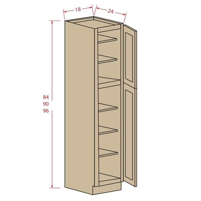Wall pantry two doors roc cabinetry shop for Kitchen cabinets jimmy carter blvd